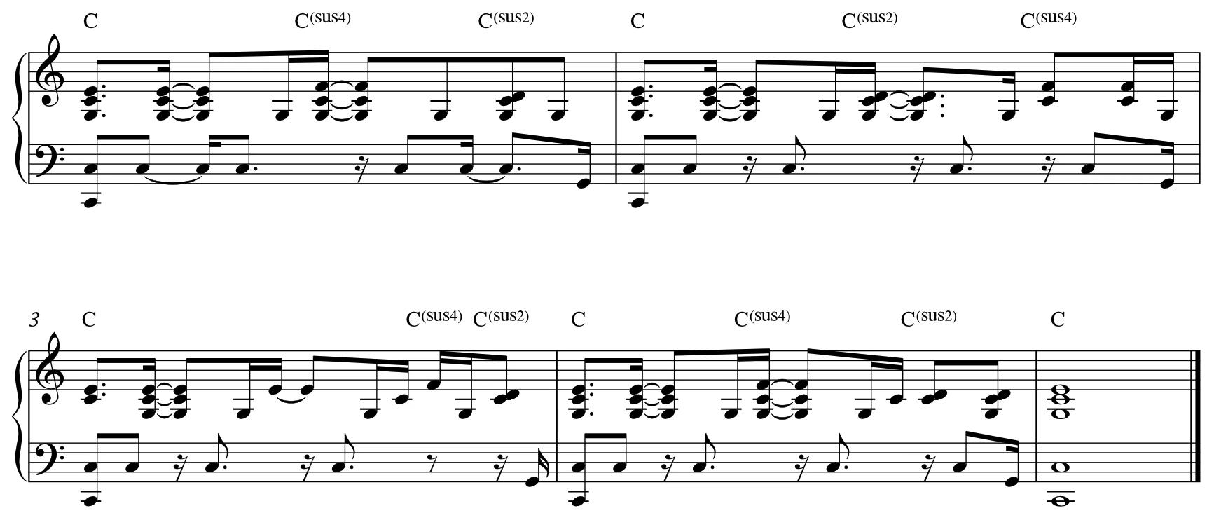 分解琶音型伴奏随便丢入一些 4 或者 2 进去